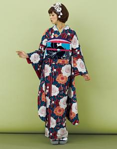 振袖:レトロなエンジ縞、桜